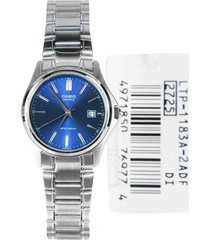 reloj casio ltp-1183a-2a análogo plateado para mujer