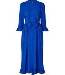 maxi-jurk met ruches harper  blauw