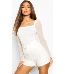 rib mesh top with square neck, white