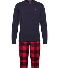 ls pant flannel tee set pyjama rood tommy hilfiger