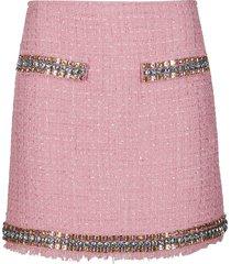 rose cotton-blend mini skirt