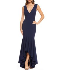 women's dress the population high/low trumpet gown, size small - blue