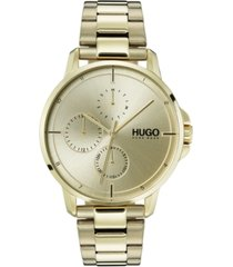hugo men's #focus ice gold ion-plated stainless steel bracelet watch 42mm