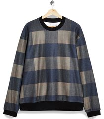 men's topman men's buffalo check crewneck sweatshirt