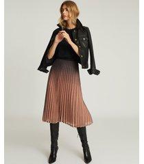reiss marlene - ombre pleated midi skirt in black/pink, womens, size 14