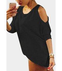 casual redondo cuello camisetas de manga larga con hombros descubiertos en negro