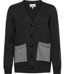 wool knit gebreide trui cardigan grijs ganni