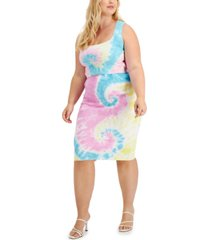 full circle trends trendy plus size 2-pc. cotton tie-dyed bralette & midi skirt set