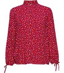 d1. desert rose viscose shirt blouse lange mouwen rood gant