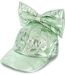 caroline bosmans bow-embellished metallic cap - green