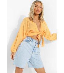 met textuur opgeknoopte blouse, peach