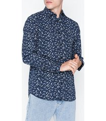 selected homme slhregpen-dunn shirt ls aop b noos t-shirts & linnen mörk blå