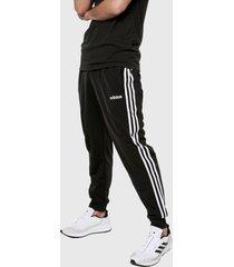 pantalón negro-blanco adidas performance essentials tapered tricot 3 rayas