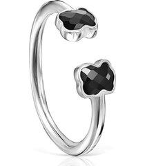 anillo mini onix abierto de plata con ónix tous