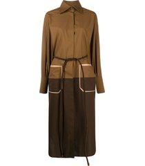 fendi belted shirt dress - brown