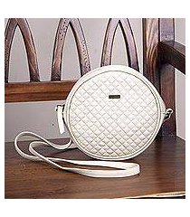 leather sling handbag, 'chic circle in champagne' (peru)