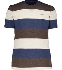 state of art t-shirt bruin navy gestreept