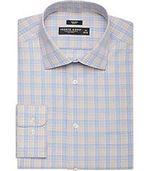 pronto uomo taupe & blue plaid slim fit dress shirt