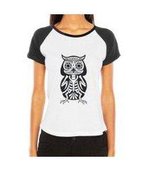 camiseta raglan criativa urbana coruja esquelética tattoo tribal esqueleto