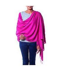 wool and silk shawl, 'mumbai orchid' (india)