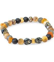spiritual mantra mix goldplated vermeil, sterling silver & multi-stone stretch bracelet