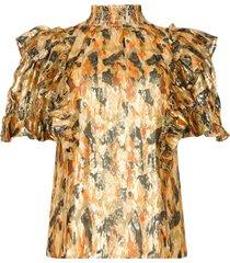gesmokte blouse met ruches gilda  geel
