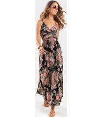 alexan twist front floral maxi dress - black