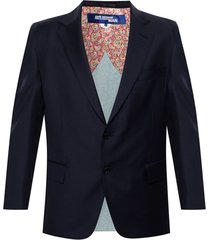blazer with denim trim