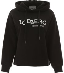 iceberg logo print hoodie