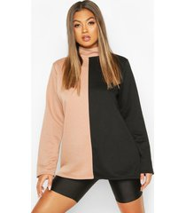 colour block turtle neck sweat top, camel