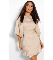 extreme balloon sleeve mini dress, nude