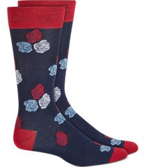 bar iii men's blue floral-pattern socks, created for macy's