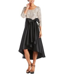 r & m richards petite sequin-top pleated high-low dress