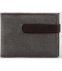 carteira masculina em couro com elástico chumbo
