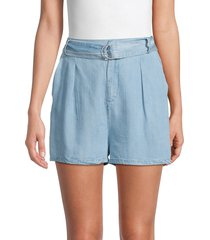bb dakota women's belted chambray shorts - chambray - size m