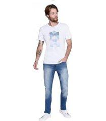 camiseta comfort praia geométrica masculina - masculino