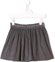 knot corduroy pleated skirt - grey