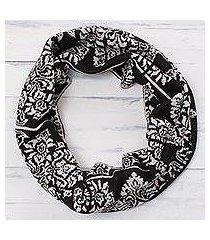 reversible alpaca blend infinity scarf, 'inca flowers' (peru)