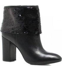 bota cano curto zariff shoes ankle boot lantejoulas feminina