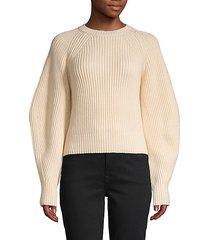raglan-sleeve cotton-blend sweater