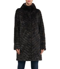 mink fur-collar coat