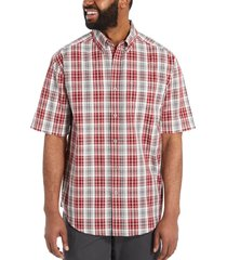 wolverine men's mortar short sleeve shirt dark brick plaid, size s