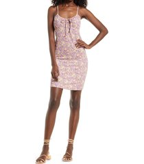 women's vero moda lisa floral tie neck body-con dress, size x-large - pink