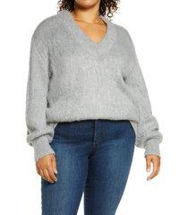 plus size women's bp. fuzzy v-neck tunic sweater, size 1x - grey