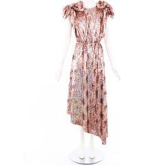 gucci gold silk georgette sequin bow dress gold sz: m