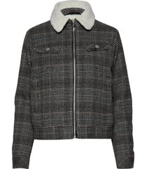 wool check sherpa jk ulljacka jacka grå lee jeans