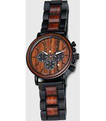 reloj madera metálico negro millam