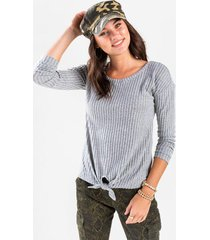 darice ribbed front tie top - heather gray