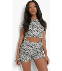 petite geplooide bloemenpatroon pyjama set met shorts, black