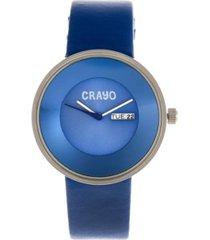crayo unisex button blue genuine leather strap watch 40mm